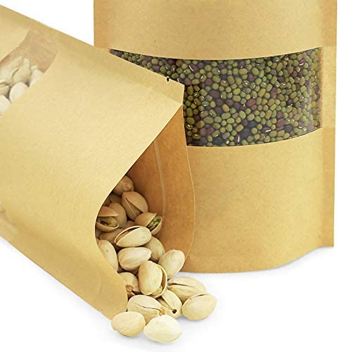 50 pcs Kraft Bags with Window Stand Up Ziplock Seal Paper Bag Resealable Large Food Storage Pouch 4oz 5.5×7.8in