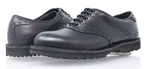 PORTMANN 2018 Saddle Classic Spikeless Tour Men's Golf Shoes | (41 M EU / 8-8.5 D(M) US, Black Cal.\ Black PYTON)