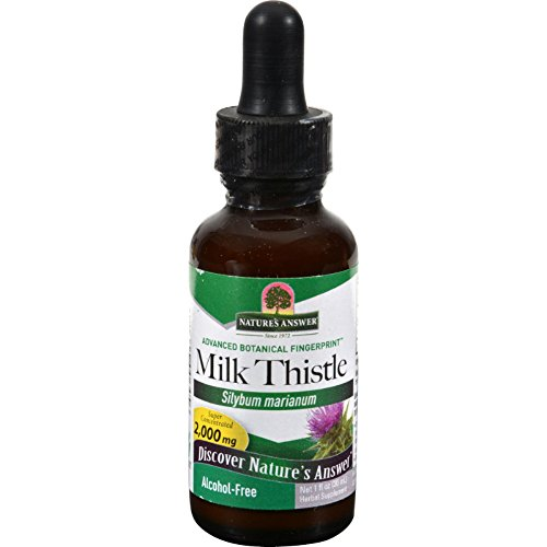Natures Answer Milk Thistle Seed - Alcohol Free - Promotes Healthy Liver Function - Herbal Supplement - 1 fl oz (Pack of 4) by Nature's Answer
