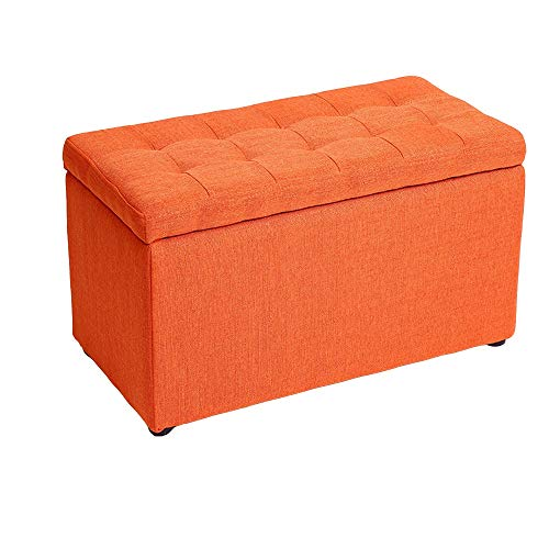 XSJJ Storage Stool, Household Solid Wood Storage Storage Sofa Footrest Pad Storage Cloth Bench 5 Color Optional Footstool (Color : Orange, Size : 603035cm) ()