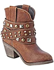 Corral Urban Womens Studded Strap Ankle Distressed Cognac Cowboy Boots