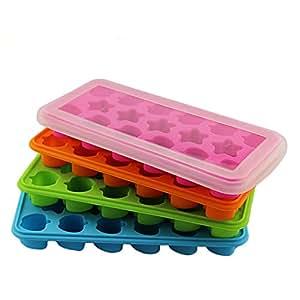 Cherryard 17 Cavity Silicone Ice Cube Trays Chocolate Molds Mini Cake Molds,Random Color,1 Pack