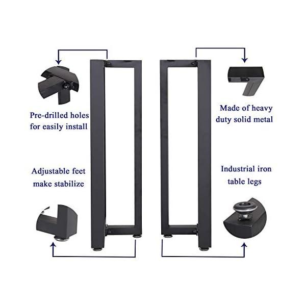 "Metal Table Legs Heavy Duty T Shape Iron Desk Legs Set of 2 28"" Height 18"" Wide Industrial Furniture Legs,Dining Table…"