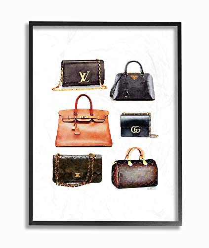 The Stupell Home Décor Collection Glam Black and Brown Leather Fashion Bag Collection Framed Giclee Texturized Art, Multi-Color ()