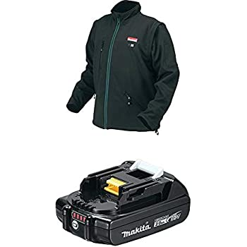 8214c5476ac1f Makita 18V LXT Lithium-Ion Cordless Heated Jacket, Black, X-Large & BL1820B 18V  LXT Lithium-Ion Compact 2.0Ah Battery