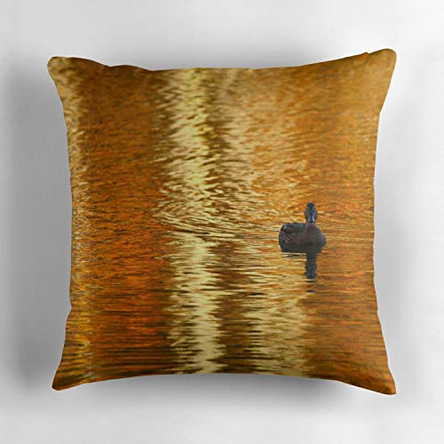 (Uwwrticm Golden Pond Duck Custom Pillow Cover 18 x 18 Inches Cotton Throw Pillow Case Cover Home Decor Cushion Cover )