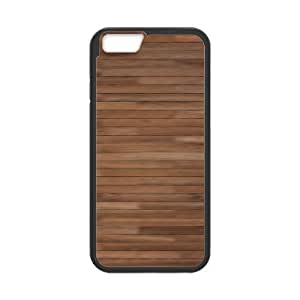 Kweet Brown Pattern IPhone 6 Case Brown Boards for Boys, Cute Iphone 6 Case, [Black]