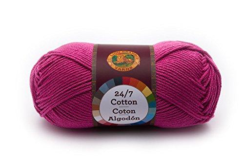 - Lion Brand Yarn 761-142 24-7 Cotton Yarn, Rose