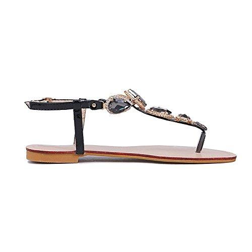 Amoonyfashion Mujeres Low-heels Solid Hebilla De Charol Con Sandalias Con Punta Abierta Negro