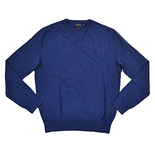 Ralph Lauren Polo Mens Pima V-Neck Sweater (Large, Blue) by Polo Ralph Lauren