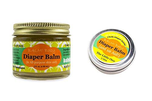 BALM! Baby Diaper Balm Natural Diaper Rash Balm & ALL Purpose Skin Aid (2 oz. Jar PLUS 1/2 oz. Travel Size)…