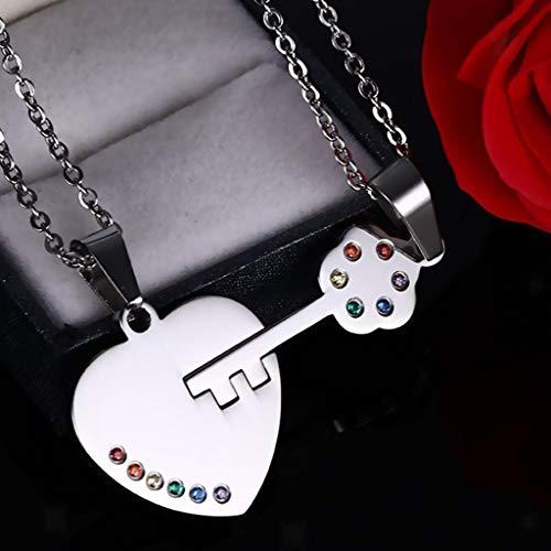 LGBT Gay Pride Rainbow Crystal Matching Heart Love Key Set Pendant Necklace ()
