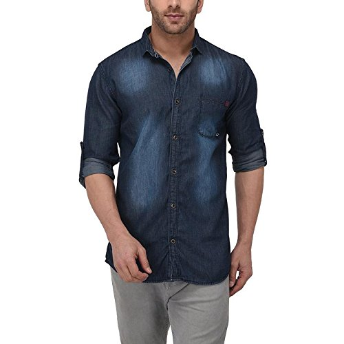 f7471f9168 GoButtonskart Mens Casual Full Sleeve Denim Shirts Dark Blue Shaded Color  (103-S)