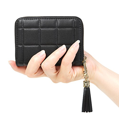 Purse Accordion Wallet (Women's RFID Blocking 15 Slots Card Holder Small Leather Accordion Wallet,Black)