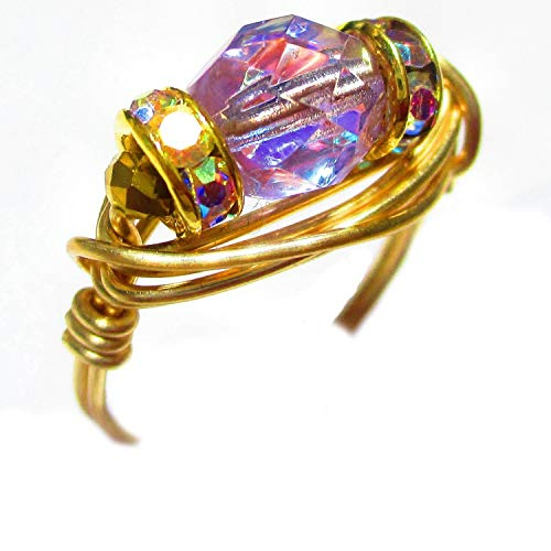(Alexandrite Crystal Czech Art Glass Solitaire Gold Wire Gold Plated Elements Wrap Ring Women SZ 4-12)