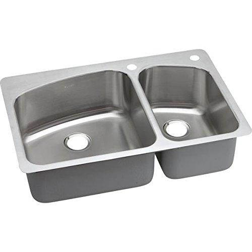 Elkay DPXSR2250R2R 18 Gauge Stainless Steel Double Bowl Dual/Universal Mount Kitchen Sink, 33 x 22 x 8'