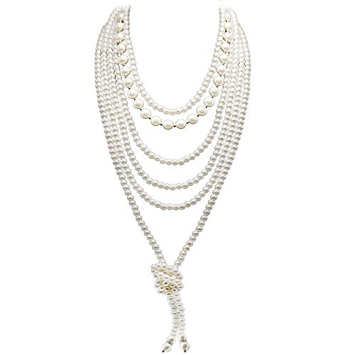 So Pretty Multilayer Faux Pearl Necklaces Set for Women Handmade Ivory White Pearl Beads Strand Layered Long Necklace 1920s Party Costume Jewelry