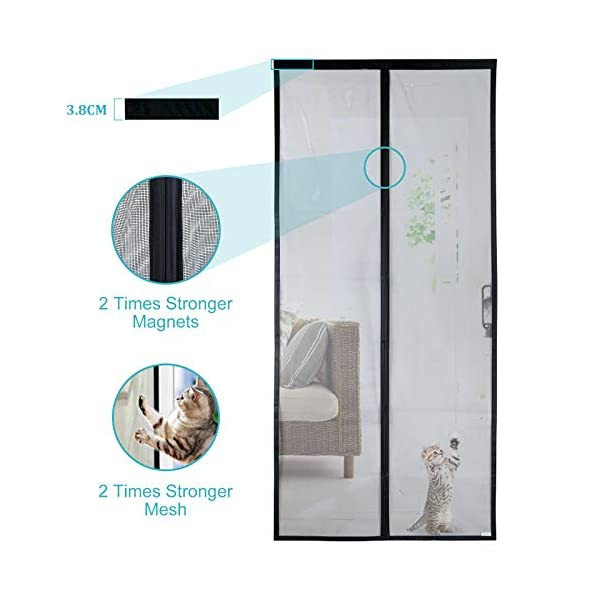 41epYnyP6oL Apalus VP Magnet Fliegengitter Tür, Insektenschutz Balkontür 80x200 cm, 2 x Langlebiger als der Apalus Klassiker, Katzen…