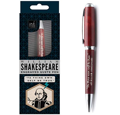 William Shakespeare Engraved Inspirational Quote Pen - To Thine Own Self Be True. - Literary Gifts for Writers Authors Readers Actors Librarians English Teachers (To Thine Own Self Be True Quote)
