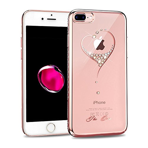 iPhone 7 Plus Case,Kingxbar Crystals from SWAROVSKI Element,Fashion Cute Clear Design Slim Printed Transparent Hard PC Protective Back Phone Cover for Apple iPhone 7 Plus (5.5 Inch) Love-Rose