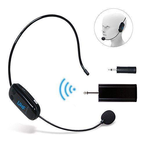 Headset Microphone U9Pro UHF Wireless Microphone Headset Lightweight Rechargeable Cordless Microphone Transmitter with 3.5mm & 6.35mm Plug Receiver for Pa System,Voice Amplifier,External Speaker ()