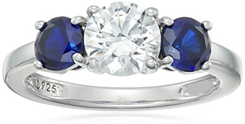 Platinum-Plated Sterling Silver Swarovski Zirconia Round-Cut Center Stone and Created Sapphire Ring, Size 6
