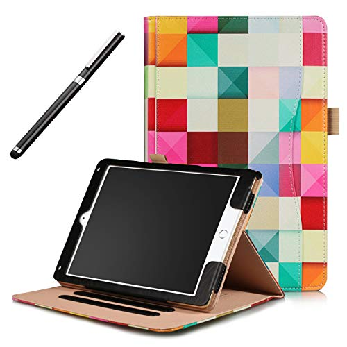 iPad Pro 10.5 Case Case - Premium Leather Folio Multi Angles Stand Cover with Auto Wake Sleep Function - Handstrap - Front Pocket & Stylus Pen for Apple iPad Pro 10.5 2017 Case - Colorful Cube