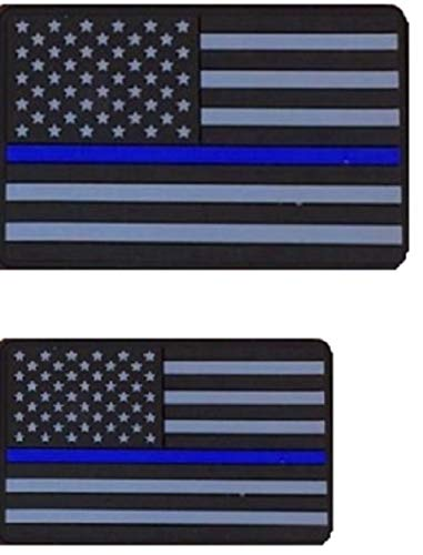 - Diezel Pet Products American Flag Morale Patch Two Pack - PVC Rubber Patches Show United States Pride Hook Loop RED White Blue OR Thin Blue LINE 2 X 3 INCH Plus Small 1.5 X 2.5 INCH Sizes (TBL)