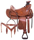 AceRugs Western Roping Saddle Wade Tree Heavy Duty Hard SEAT Ranch Work Horse TACK Premium Leather Headstall REINS Breast Collar