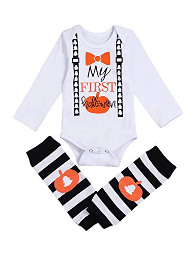 (2Pcs My First Halloween Outfits Newborn Baby Boys Girls Romper with Socks Pumpkin Jumpsuit Bodysuits(0-3Months) White)