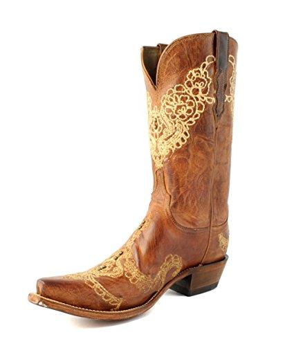 Lucchese N9573.s54 Stivali Western Da Cowboy In Pelle Brunita E Arachidi Fragili