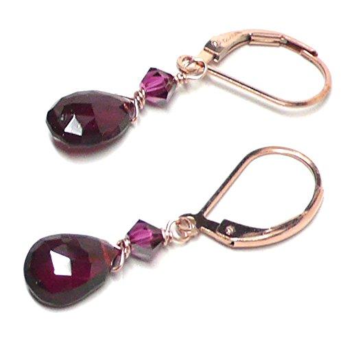 Garnet 9x6mm Briolette Lever Back Earrings Swarovski Crystal Rose Gold-Filled Handcrafted Garnet Love Earrings