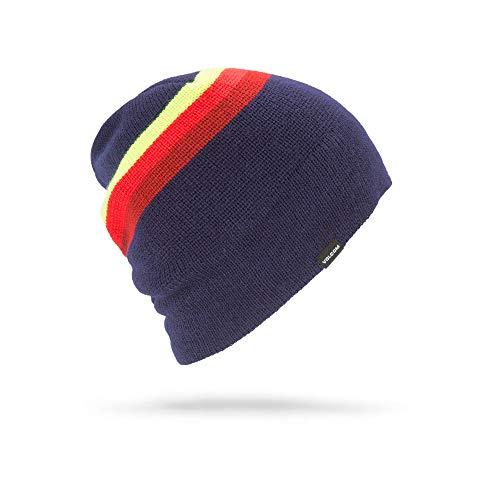 Volcom Beanie Winter (Volcom Men's Apres Stripe Roll Over fit Beanie, Navy, One Size)