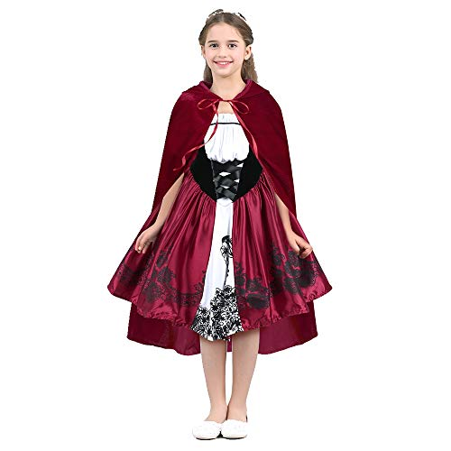 TiaoBug Kids Girls Little Red Riding Hood Costume Halloween Cosplay Fancy Party Dress Red 6-8]()