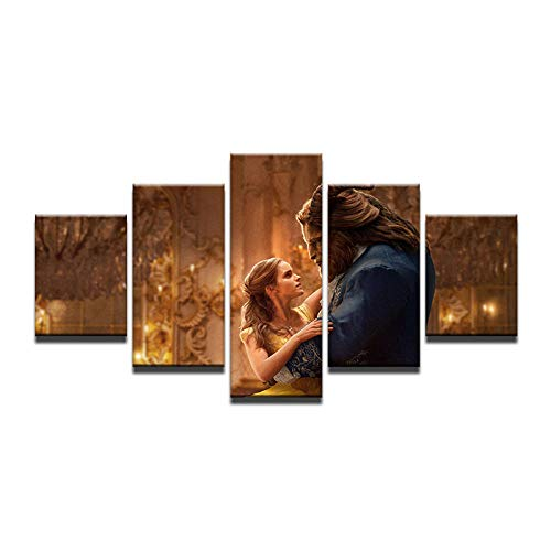 Fbhfbh 5 Panels Hd Printed Beauty and The Beast Movie Wall Art Painting Canvas Print Room Decor Print Poster Picture Canvas -4x6/8/10inch,with Frame