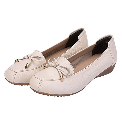 Heel Out Breathable Beige Genuine Women Hollowed Slippers Wedge Comfort Summer Jamron Leather Moccasins Loafer xq8wAT474