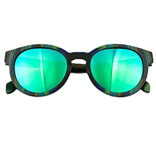 Wenzhihua Protección Beach Polarizadas Lectores Hechas Marco Verde Sunglasses Que Para Gafas Mano Del Ultravioleta Mujer Las Sol Madera Color A De Conduce rzrxO