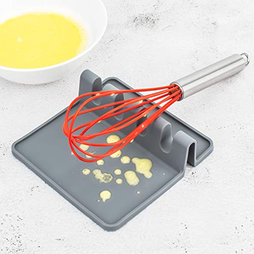 2PCS Heat-Resistant Spoon Rest, Premium Spoon Holder for Stove Top, Silicone Utensil Rest with Drip Pad for Multiple Utensils, Kitchen Utensil Holder for Spoons, Ladles, Tongs, etc.