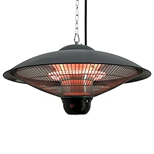 Outsunny 1500W Ceiling Mounted Round Outdoor Electric Patio Heater W/ LED  Light And Remote Control