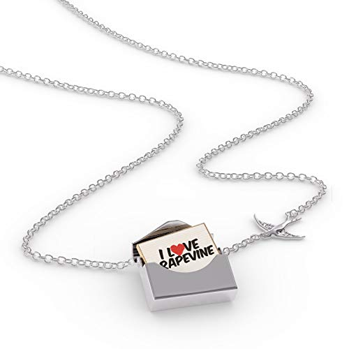 NEONBLOND Locket Necklace I Love Grapevine in a Silver Envelope