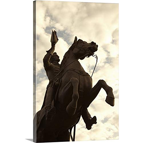 Jackson Square Statue - Andrew Jackson Statue in Jackson Square, New Orleans Canvas Wall Art Print, 24