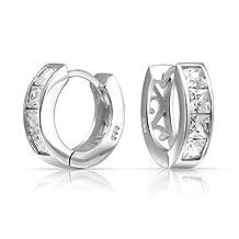 Bling Jewelry Princess Cut CZ Filigree Vines Huggie Earrings 925 Silver