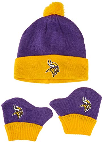 Cap Minnesota Set Vikings - OTS NFL Minnesota Vikings Pow Knit Cap & Mittens Set, Purple, Infant