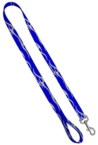 Flame Print Dog Leash - Hot Rod Flame Print Dog Leash Waterproof With Easy Grip Loop - 3/4 Inch x 6 Feet, Blue/Silver