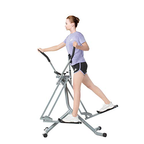 Tiptiper Air Walker Exercise Machine Elliptical Machine Glider with LCD Monitor, 36 Inch Stride and 220 LB Max Weight Fitness Step Machine
