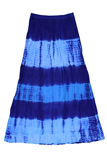 - Mohini Pure Cotton Crinkled Tie Dye Long Skirt: Purple Blue: 4X