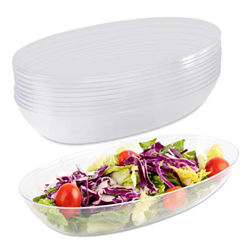 Impressive Creations Plastic Salad Bowl | 42 Oz. (Pack of 10) – Heavyweight Disposable Clear Salad Bowl – Durable and Reusable Party Supply Bowl – Perfect Dinnerware – Small