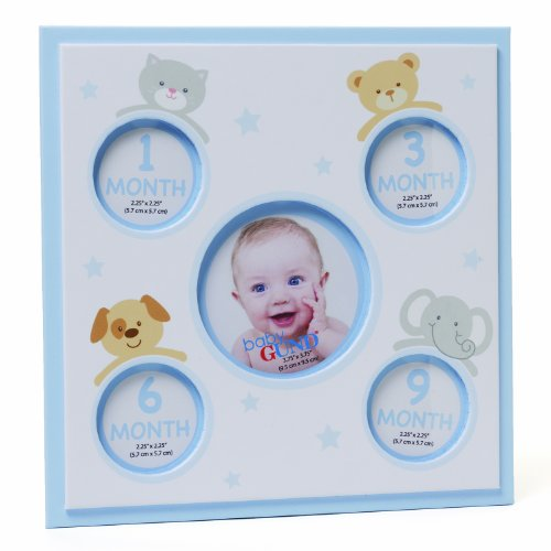 Gund Baby Baby's First Year Five Opening Photo Frame, White and Blue (Discontinued by Manufacturer)