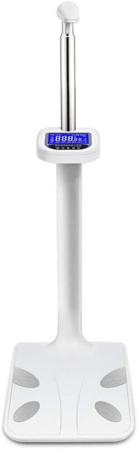 QHYAH Plegable ultrasónico Altura Carga de la Escala Estadiómetro multifunción Analizador de Grasa Corporal Altura de la mira con Altura de mira Cuerpo Digital Fat Escala de Salud