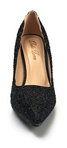 Bella Women Homecoming, Wedding, Prom and Evening Shoes Crystal Embellished Sofia 24 Black